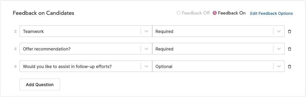 Adding feedback questions