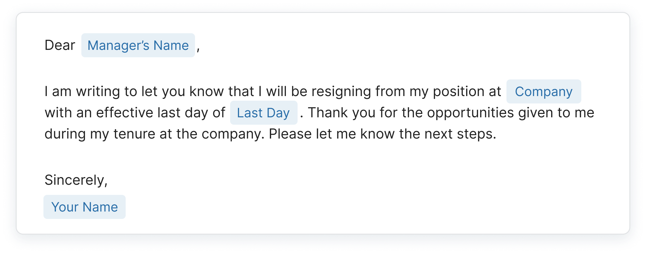 sample resignation email