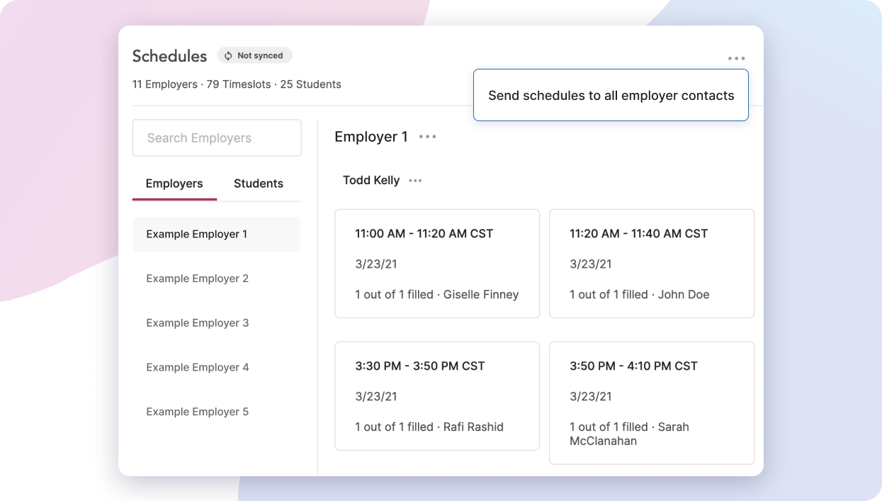 Send schedules to employer contacts