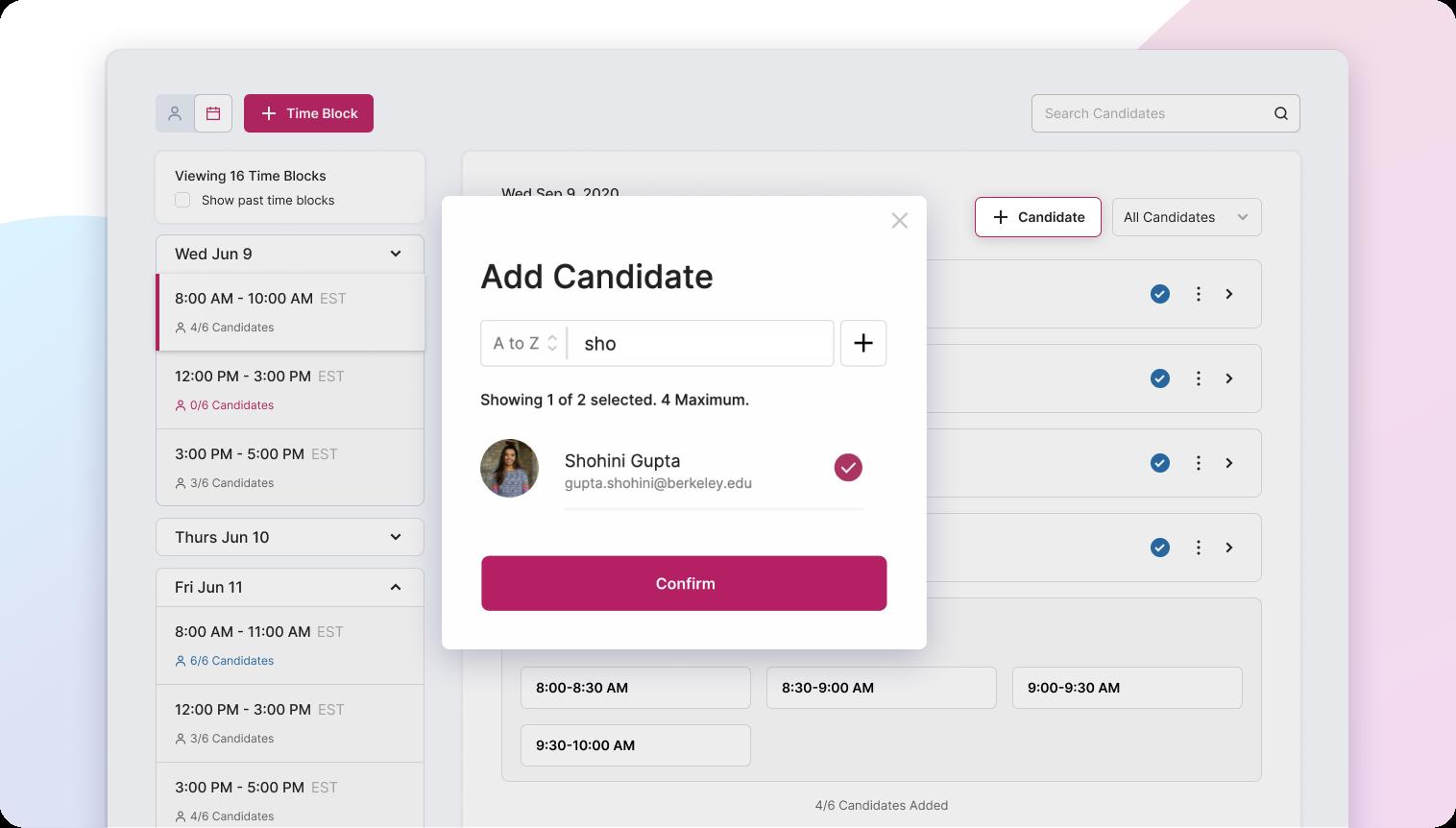Adding multiple candidates to timeblocks on Flo Recruit
