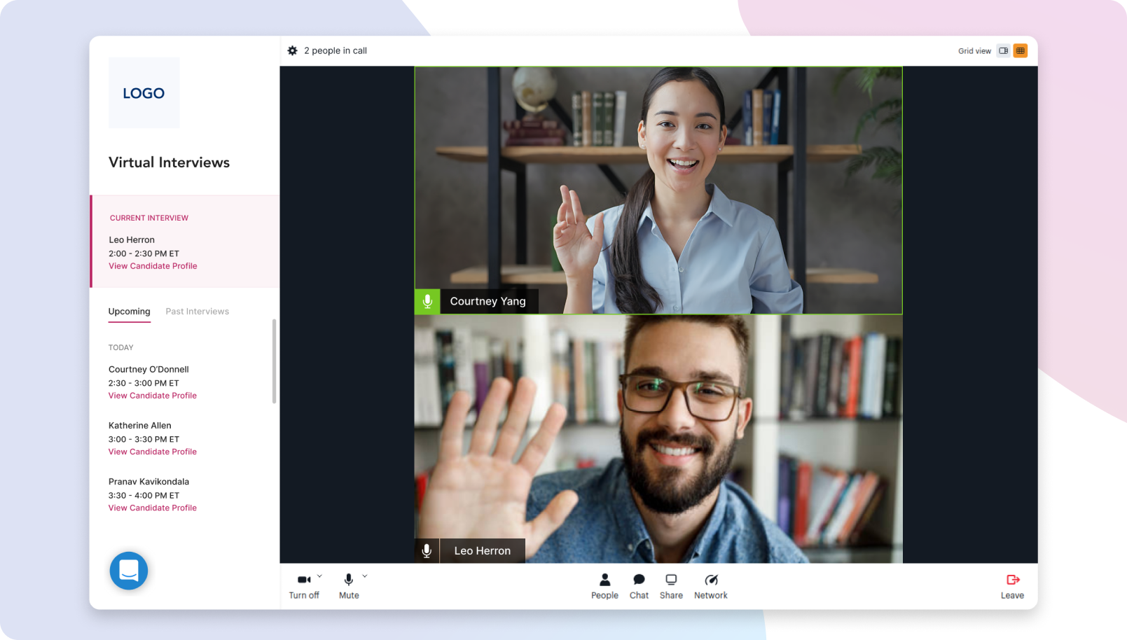 New Flo Recruit video chat interface