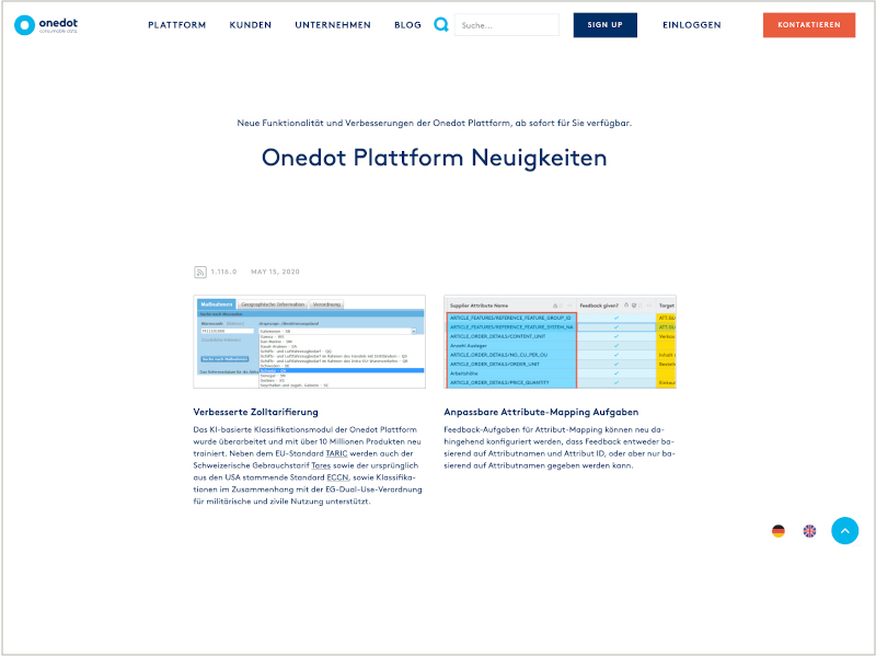 New features of the Onedot platform
