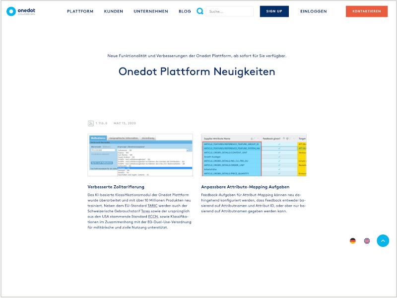 Neugigkeiten der Onedot Plattform