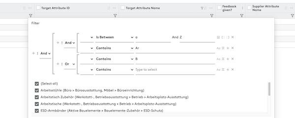 Anzeigen des Filters in Feedback-Aufgaben