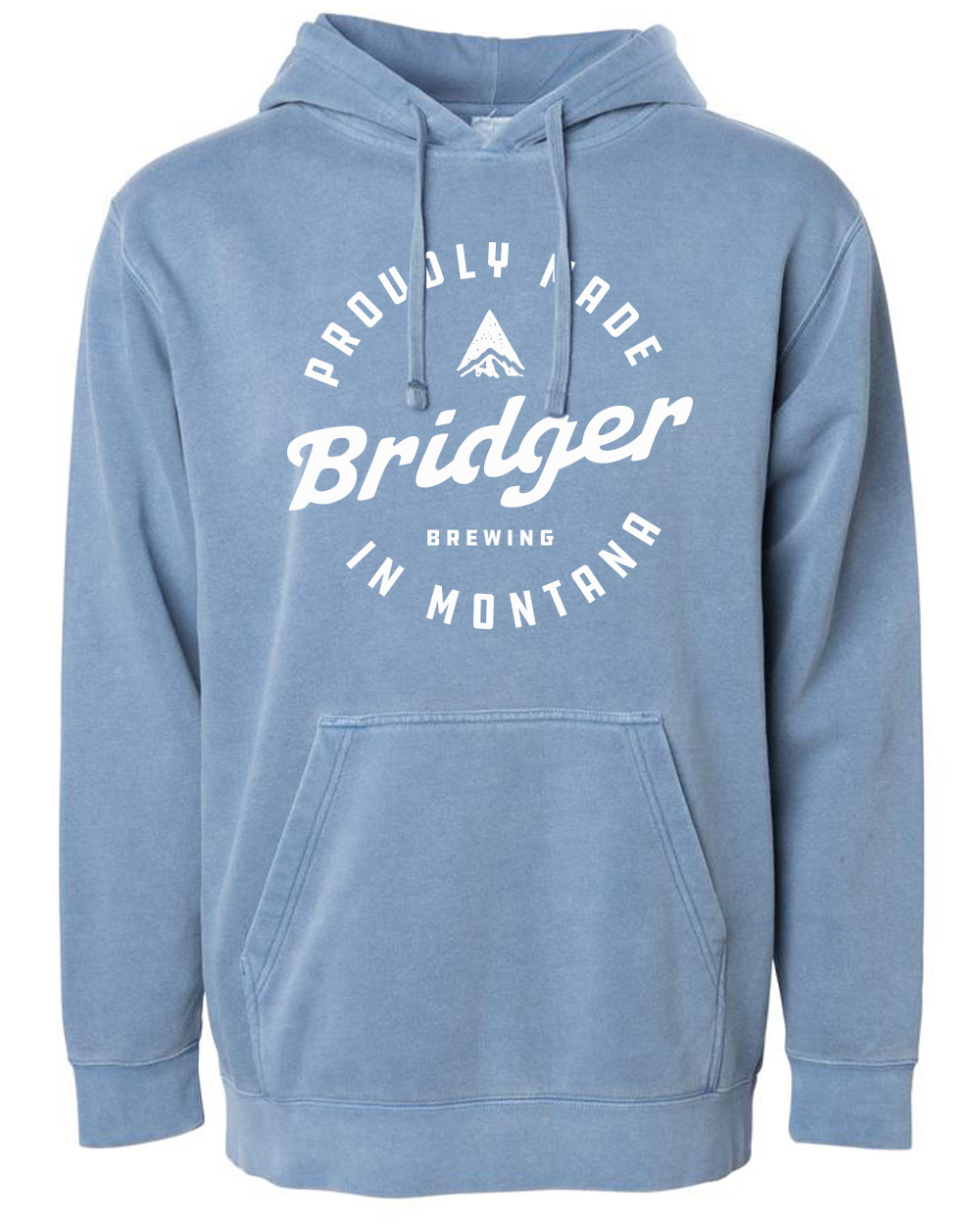 An 80/20 cotton/polyester blend with 100% cotton face, our unisex Bridger stamp pullover hoodie is super cozy and ready for your next outdoor adventure. The large Bridger stamp logo is featured on the front.