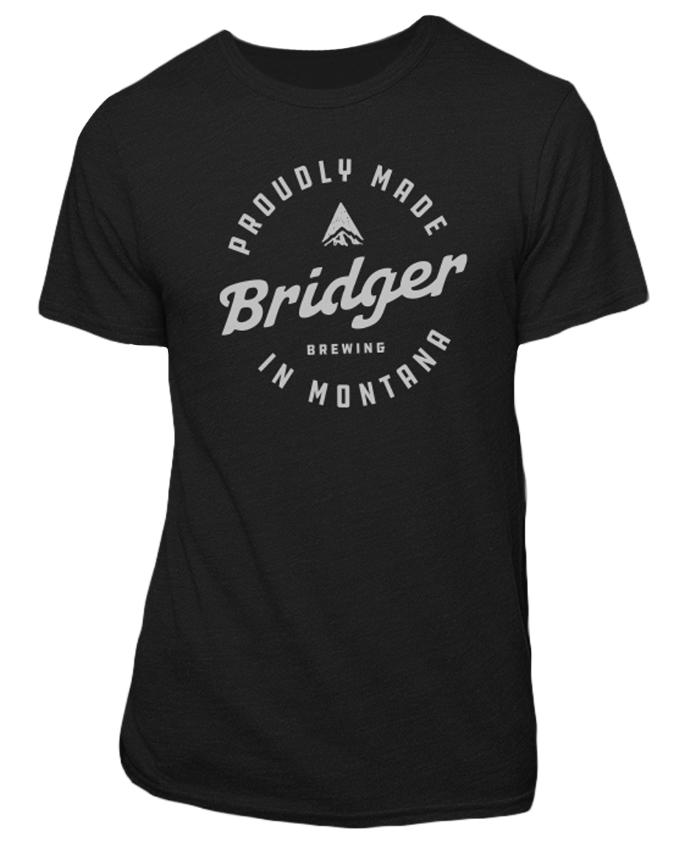 "Recycled bottles were used to make the yarn for this American-made, unisex T-shirt, which is a blend of recycled polyester, organic cotton and rayon. The front features the Bridger stamp logo; the back has the small Bridger ""B"" logo at the base of the neck."