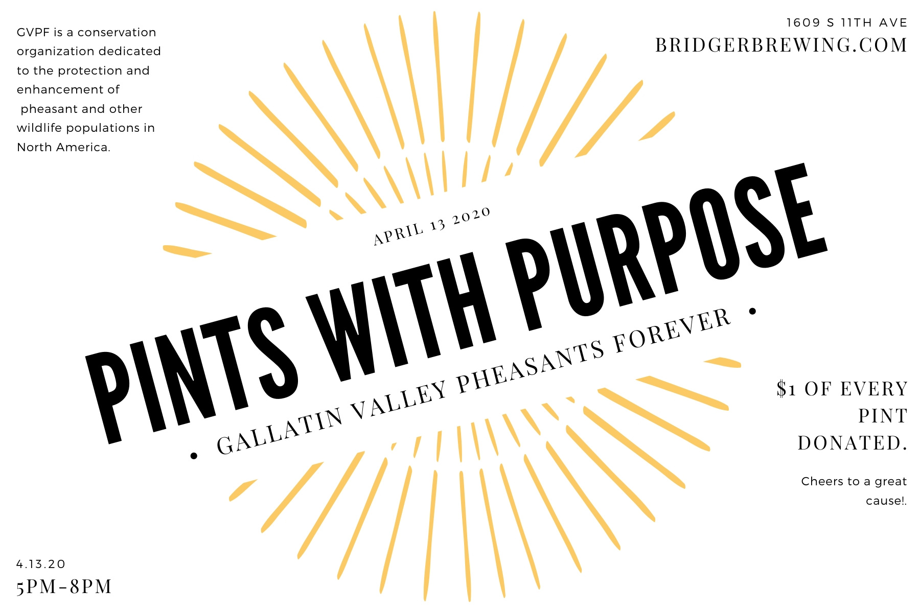 Pints with Purpose · Gallatin Valley Pheasants Forever
