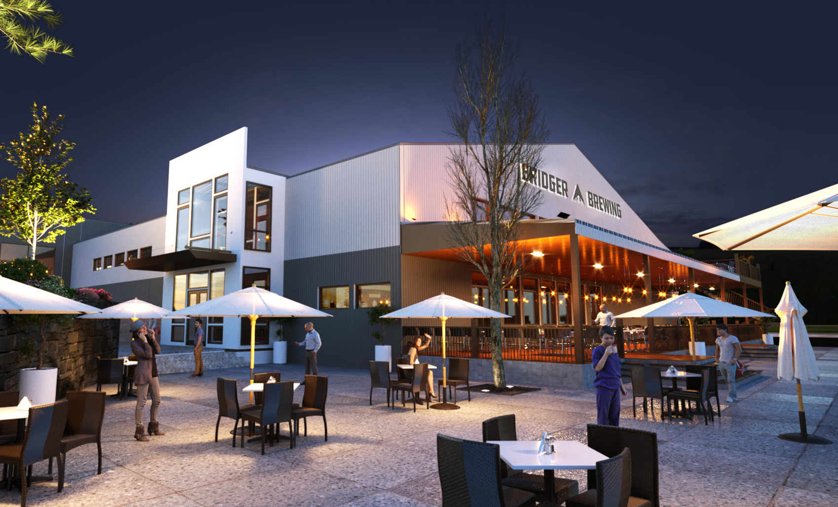 Rendering of building outdoors and patio space of Bridger Brewing Three Forks location