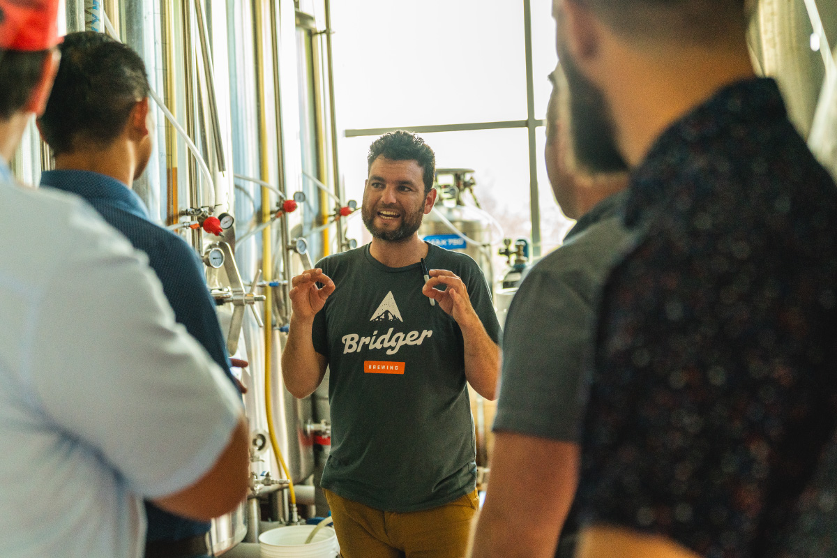 Brewer hosting a private brewery tour
