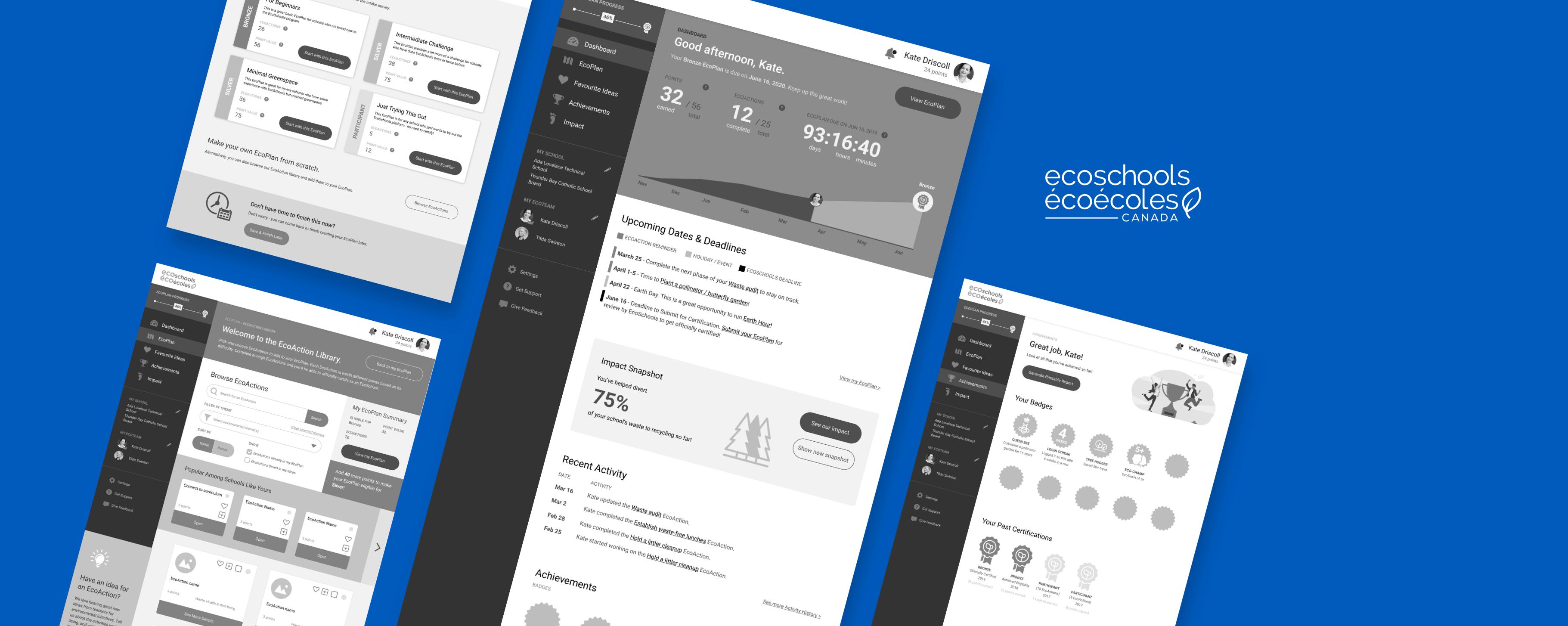 Screenshots of the EcoSchools MVP prototype