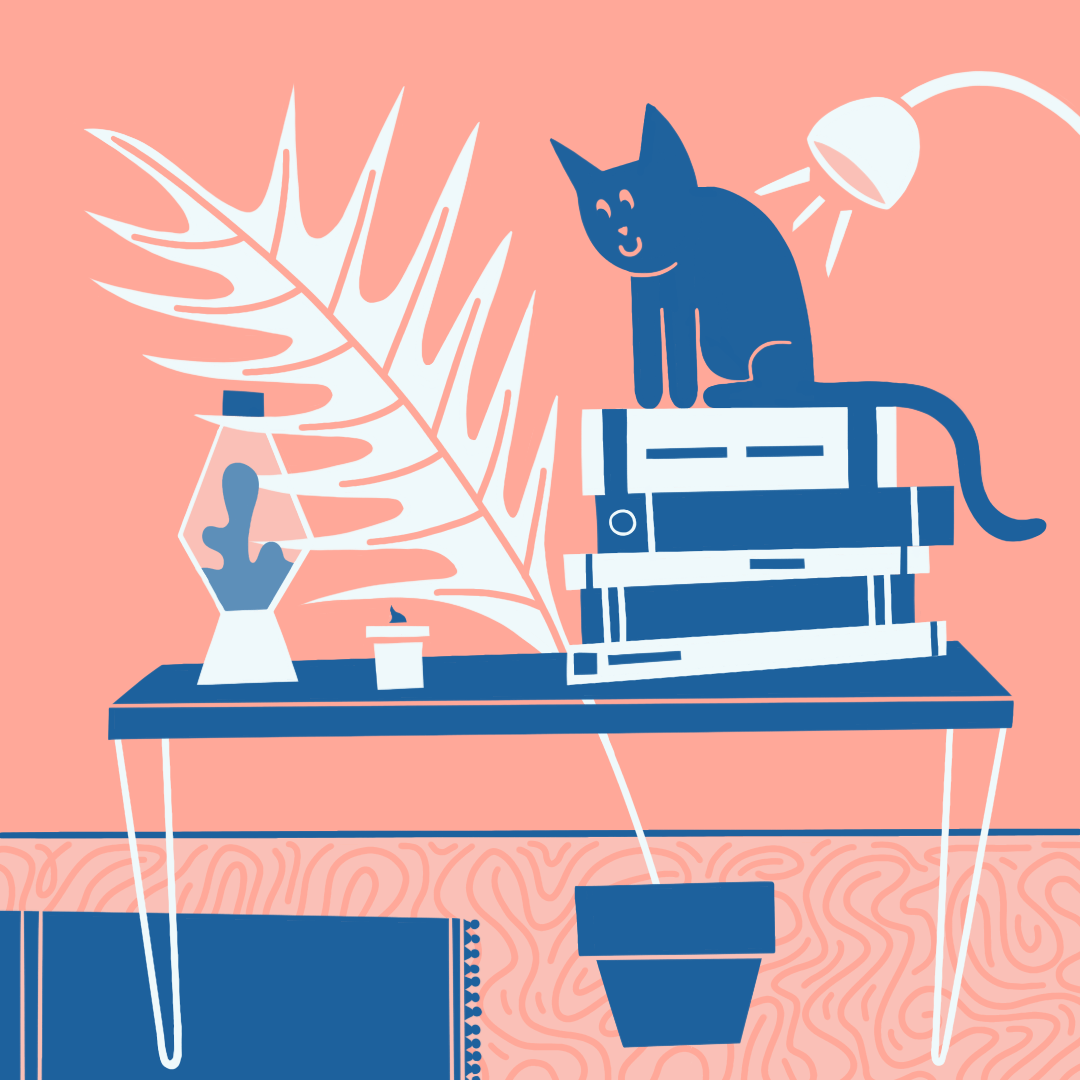 A cat on a desk
