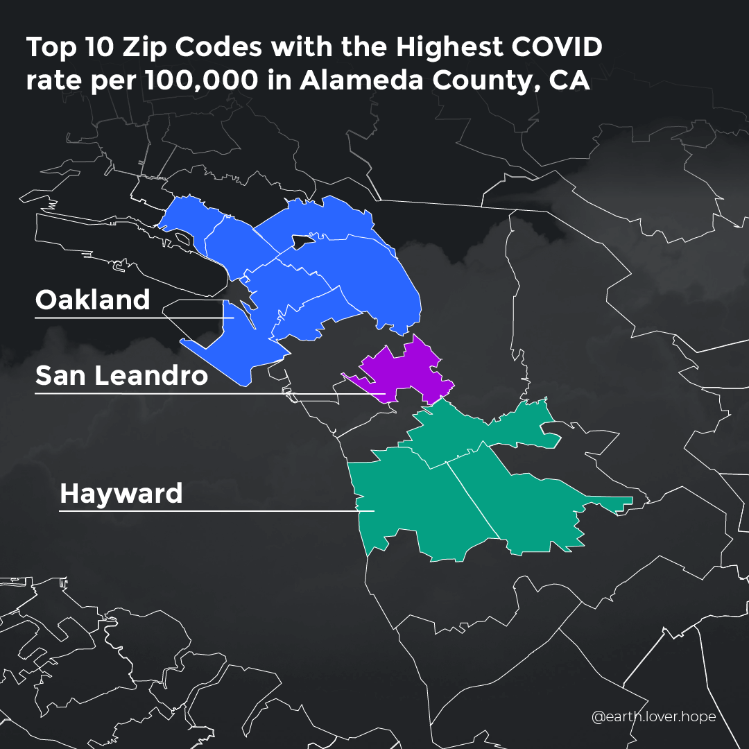 Top 10 Zip Codes with the Highest COVID rate per 100,000 in Alameda County, CA