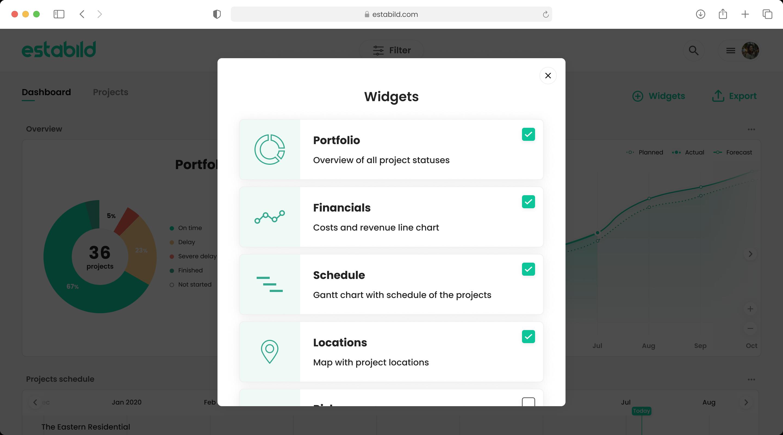 Portfolio widgets