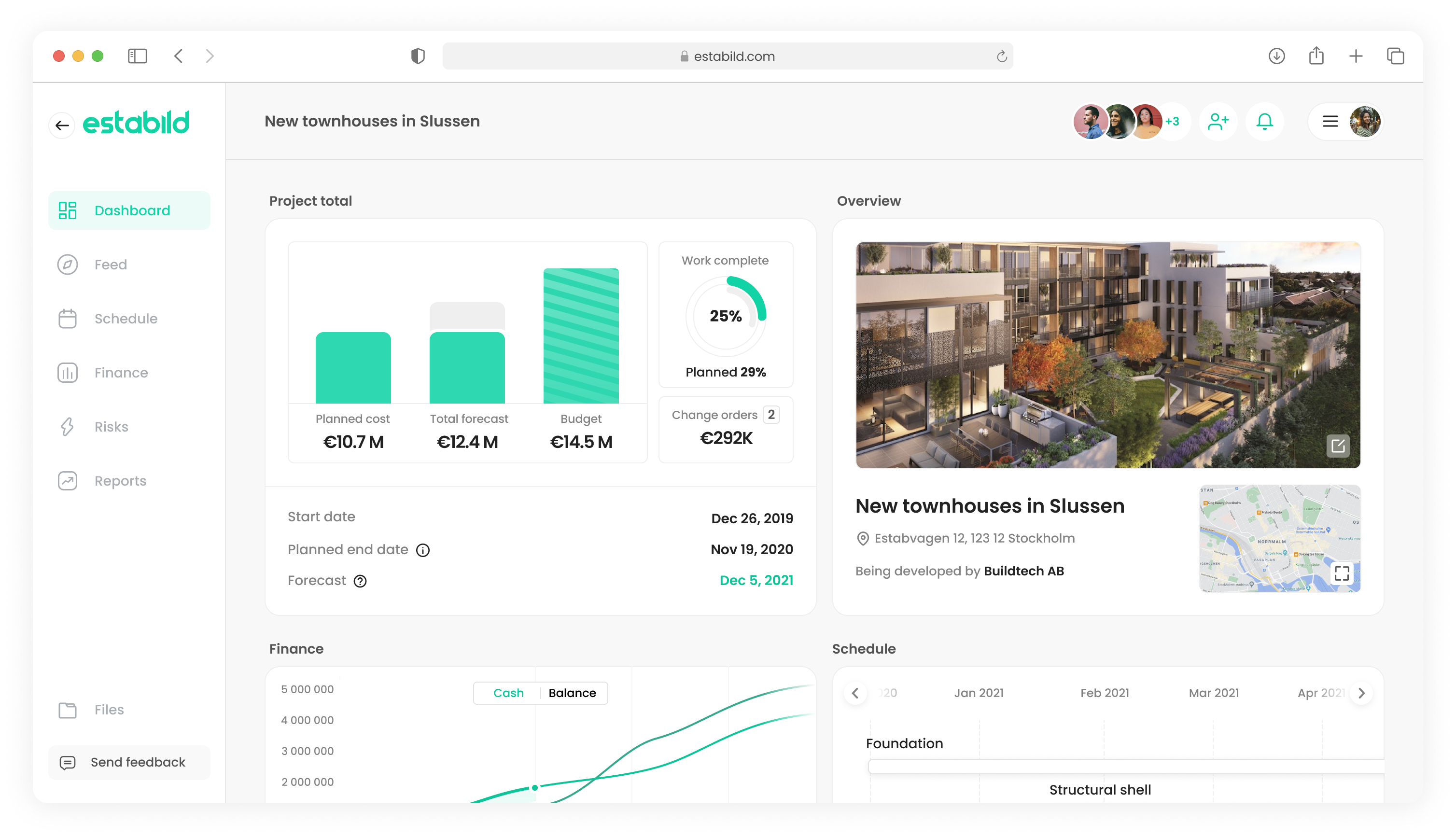 Estabild project dashboard