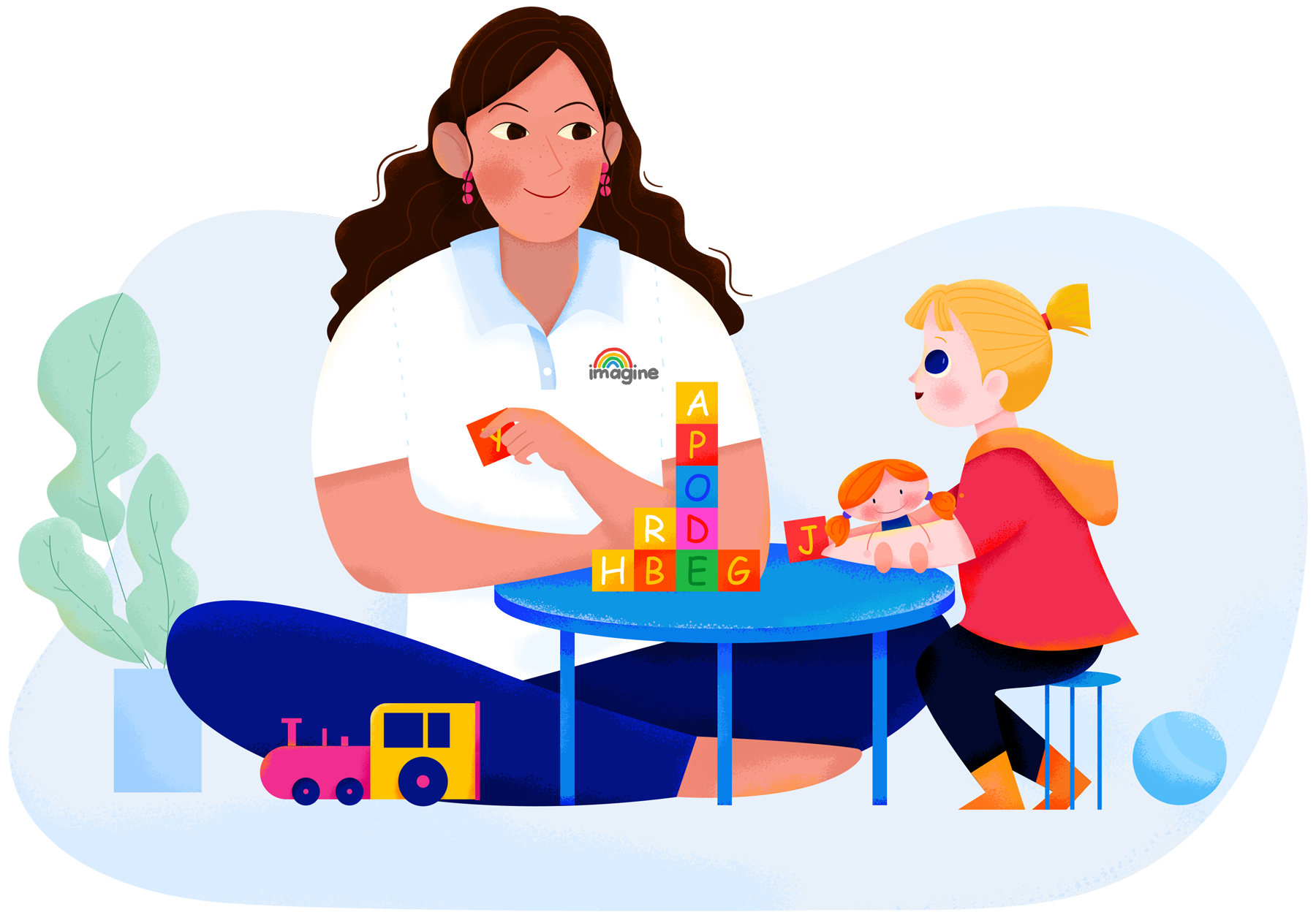 Giving speech therapy to a child