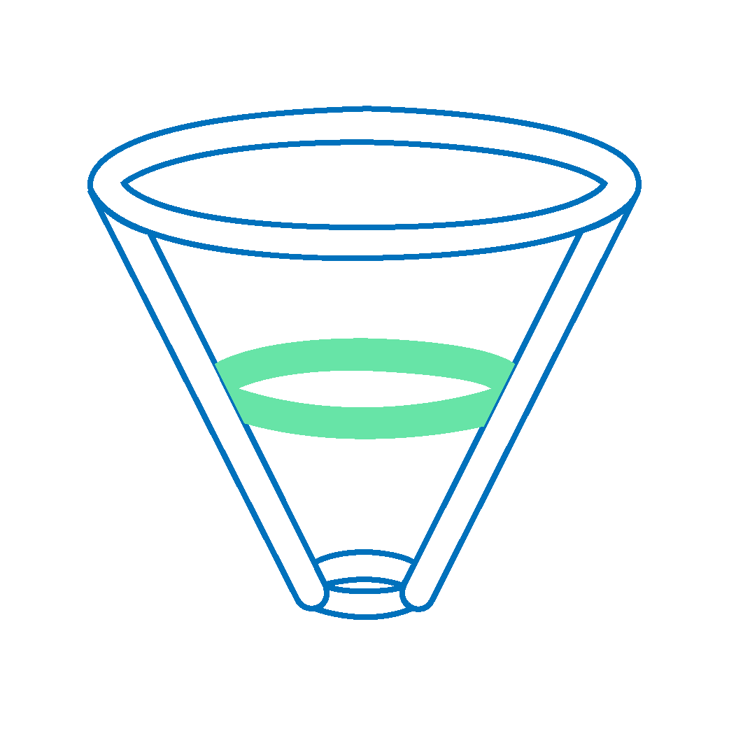 A funnel icon with the middle of the funnel highlighted with green