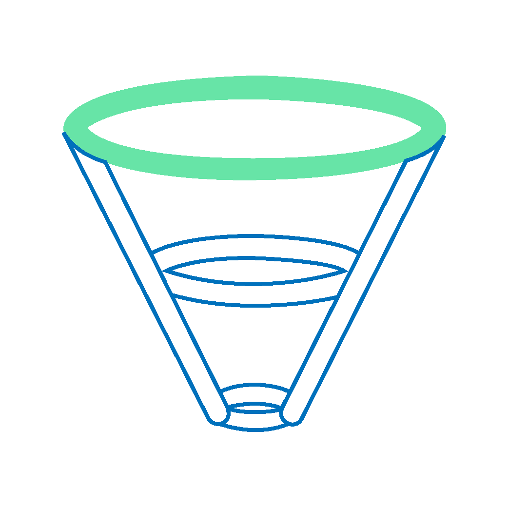 A funnel icon with the top of the funnel highlighted with green