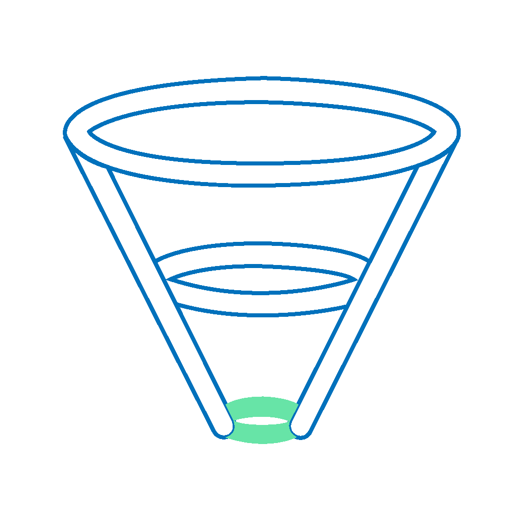 A funnel icon with the bottom of the funnel highlighted with green