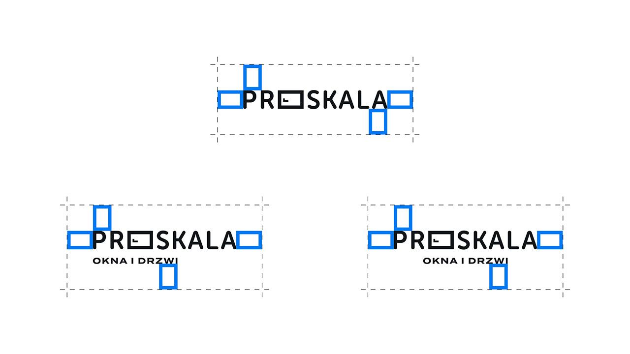 Proskala - warianty logotypu z polem ochronnym