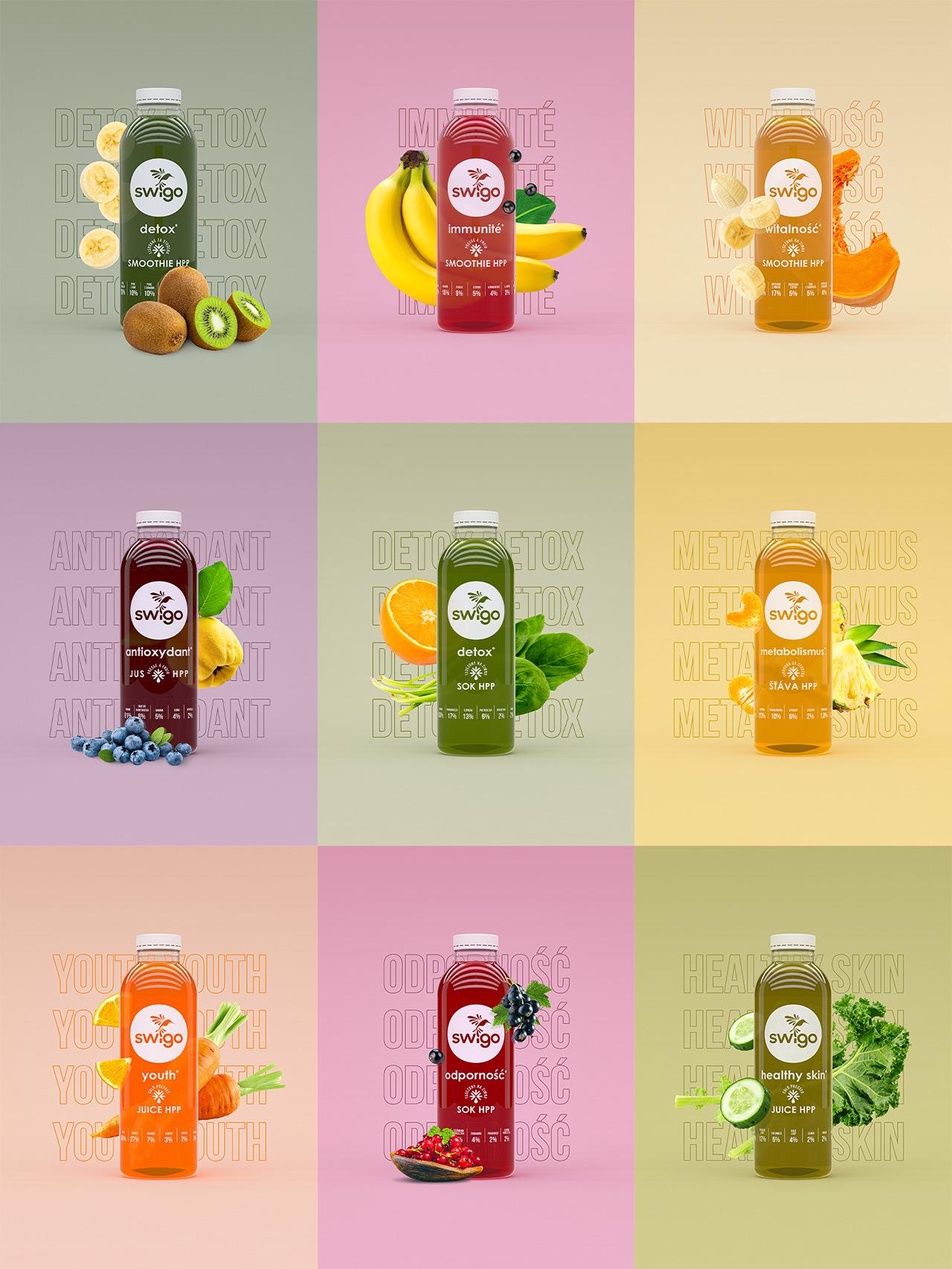 Swigo - zestawienie wszystkich renderów butelek