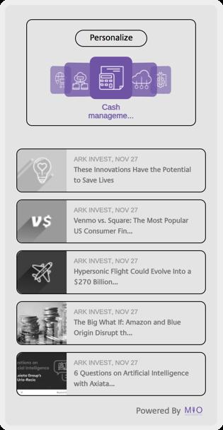 A screenshot of the MIO app widget