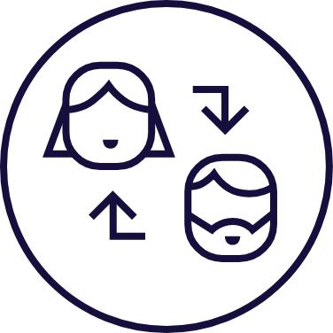 Two people cycle icon