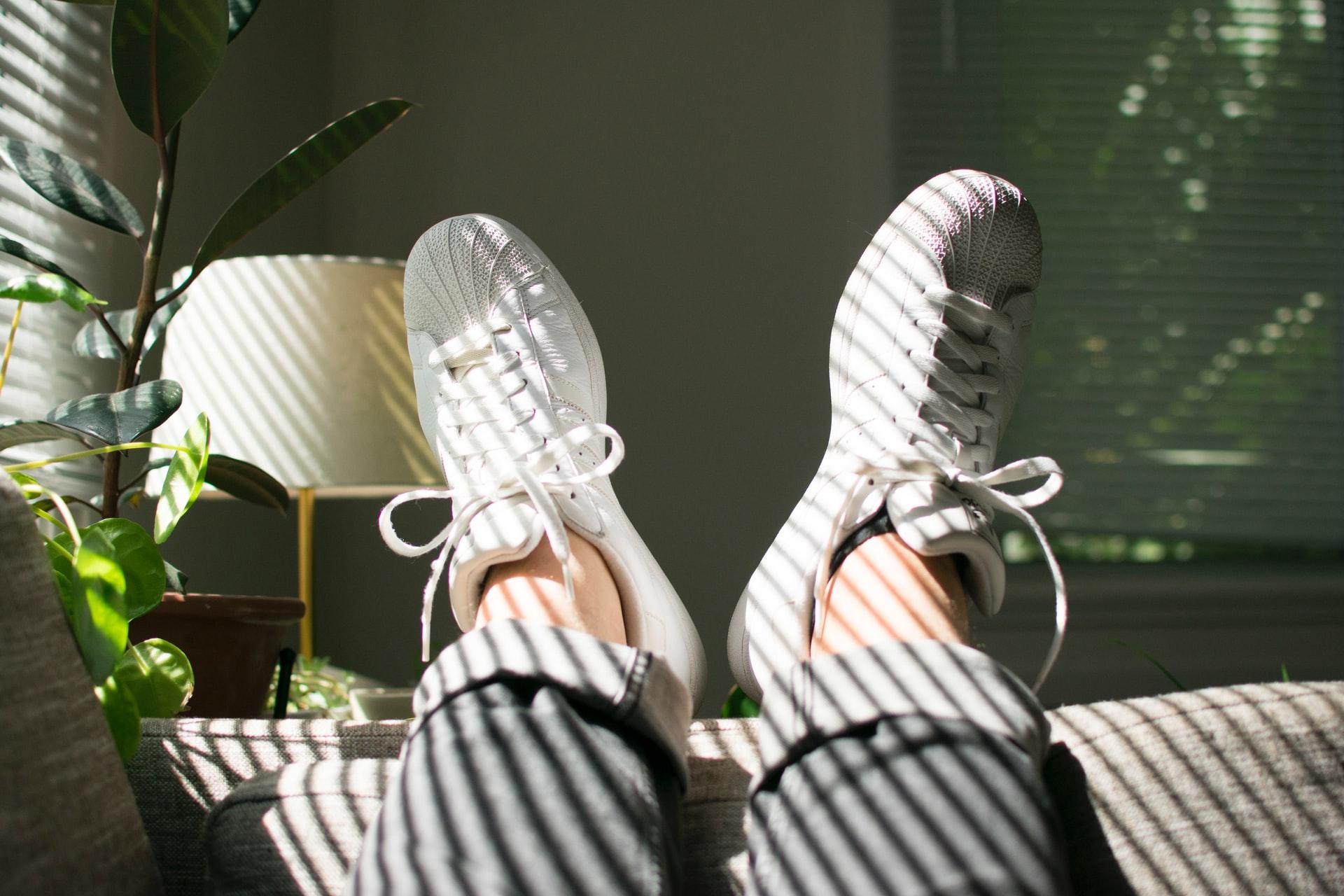 Feet up on the sofa