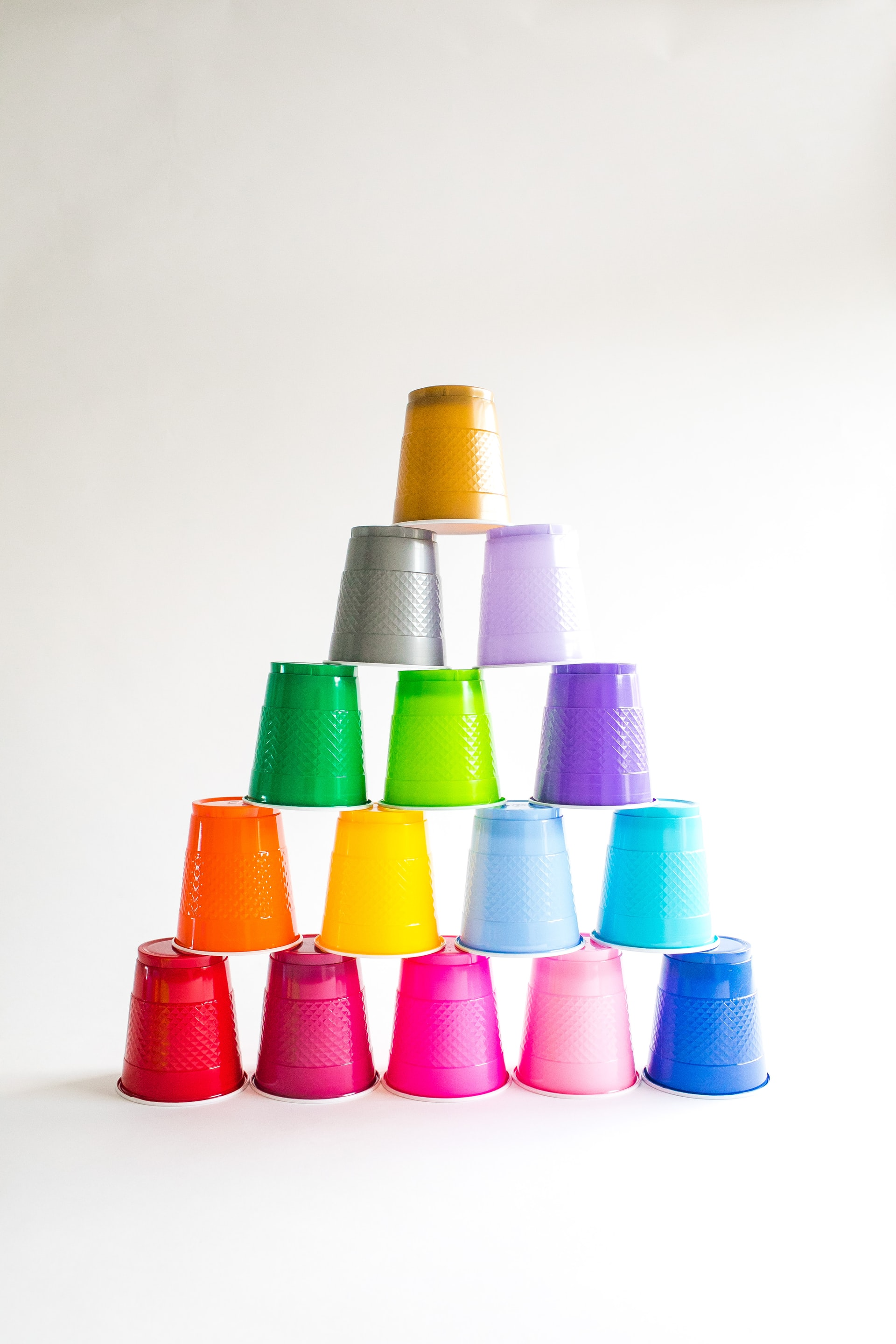 Pyramid of inverted plastic drinking cups