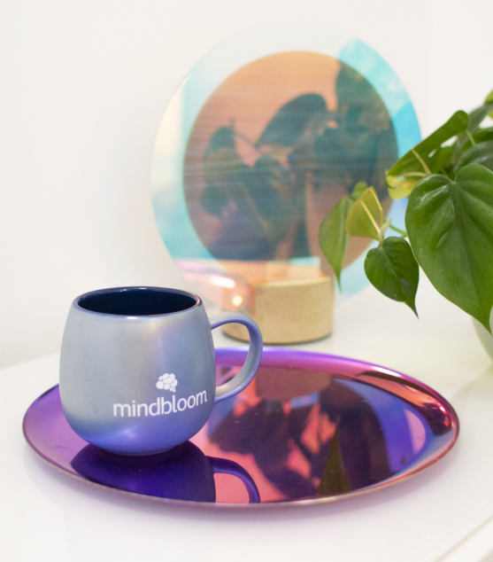 A Mindbloom mug a colorful tray and mirror in the background