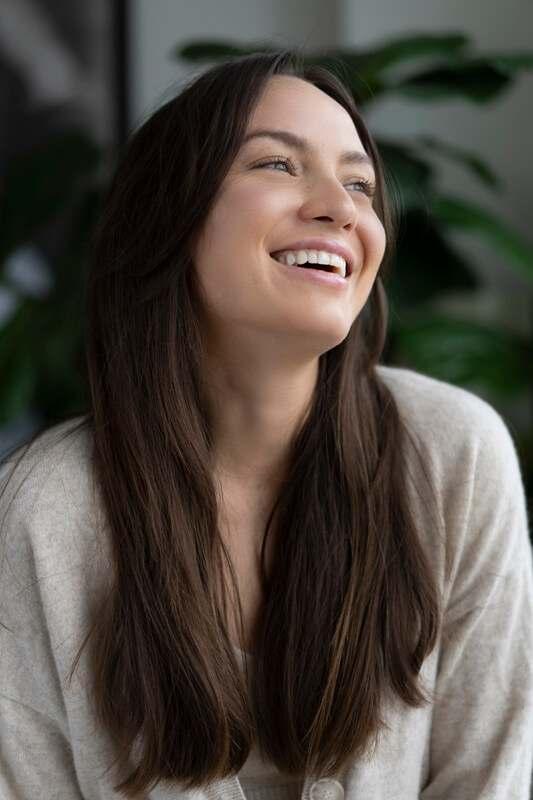 A client smiling