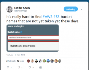 AWS S3 Bucket Naming Sander knape