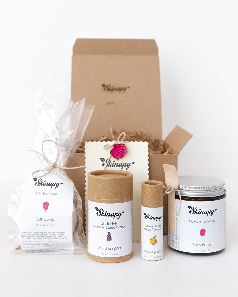 Skinapy Natural Organic Essential Body Bath Gift Set 4 Items