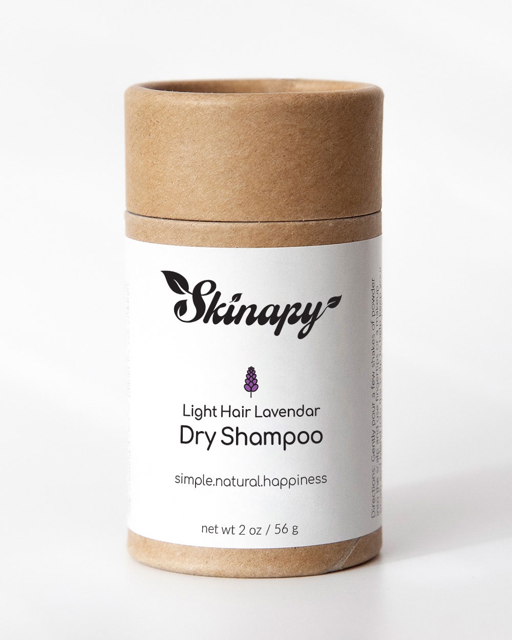 Skinapy natural organic dry shampoo for light hair with lavender sweet orange scent