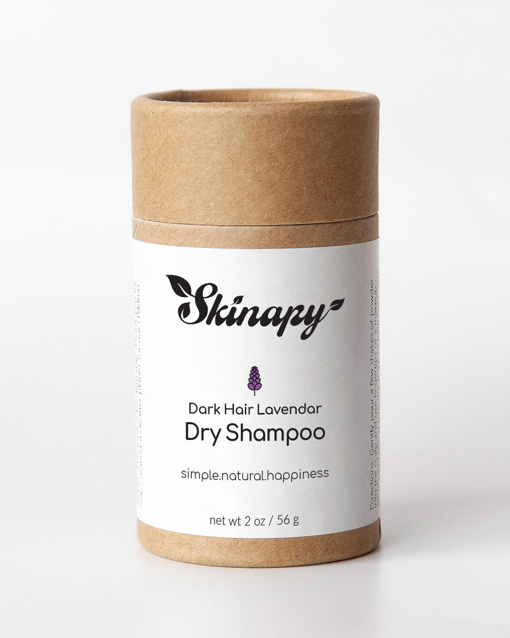 Skinapy natural organic dry shampoo for dark hair with lavender sweet orange scent