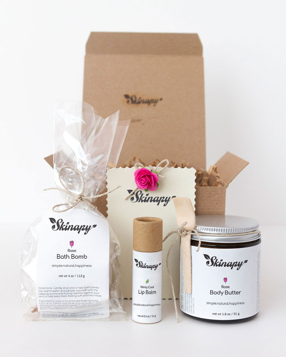 Natural & organic essential body bath rose gift set or gift box