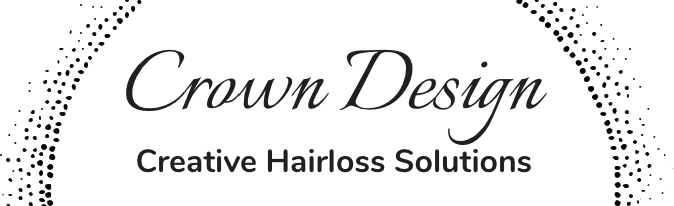 Crown Design - Creative Hairloss Solutions. Black text on flesh colored backgroundLogo