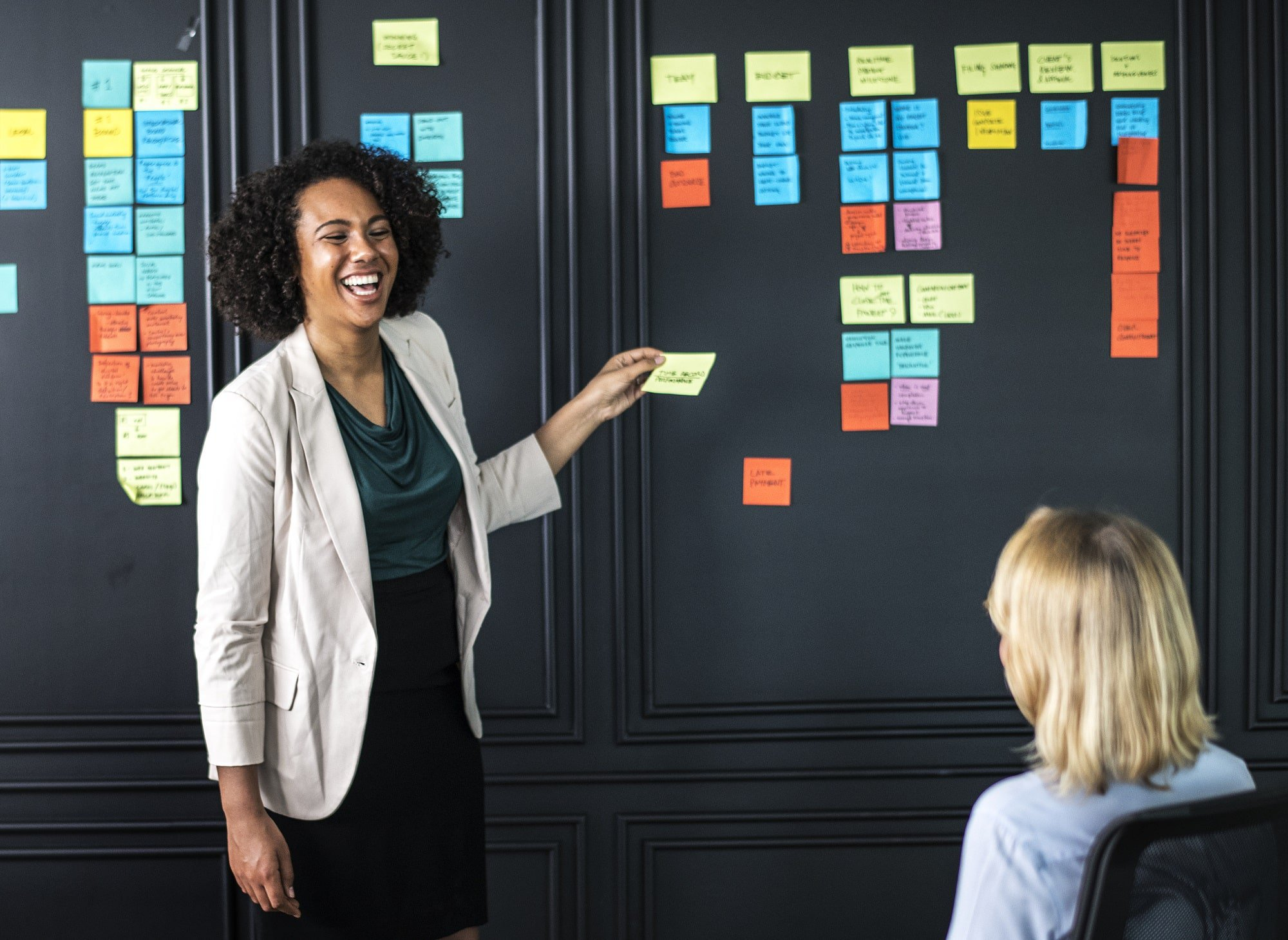 Smiling businesswoman presents to her colleagues