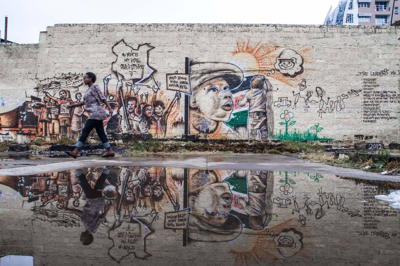 Street Scene with Graffiti by Mwangi Kirubi