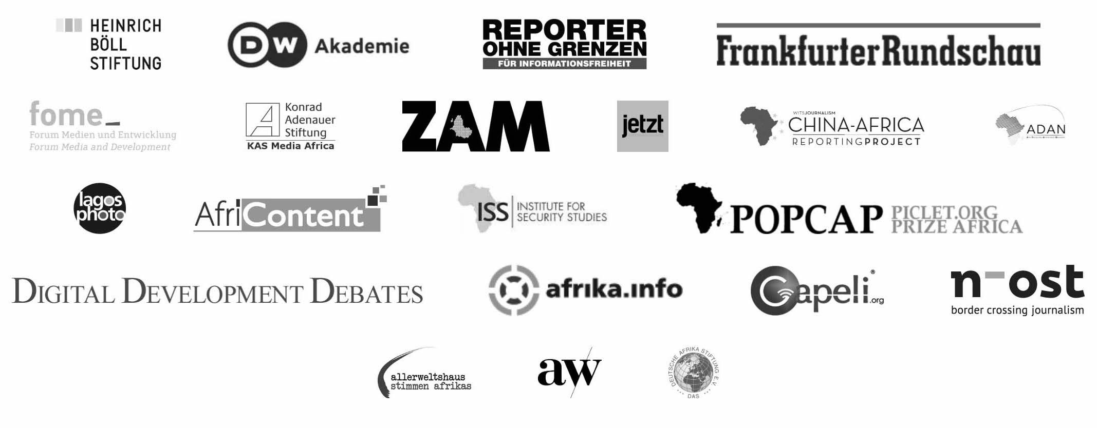 Logo DW Akademie, Reporter ohne Grenzen, Heinrich-Böll-Stiftung