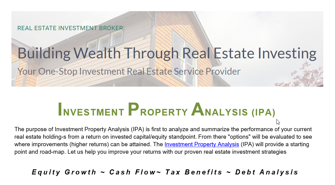 Investment Property Analysis (IPA) Report Cover