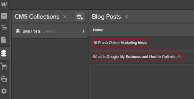 blog post in webflow