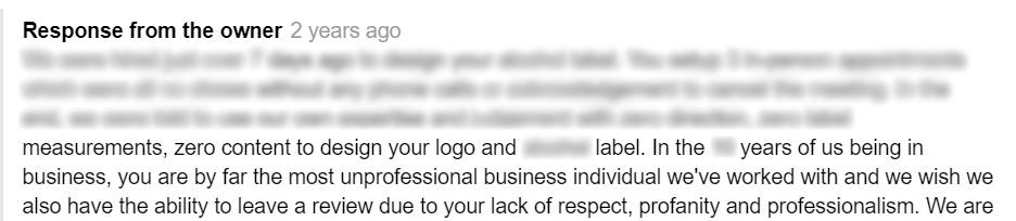 response to review from business owner