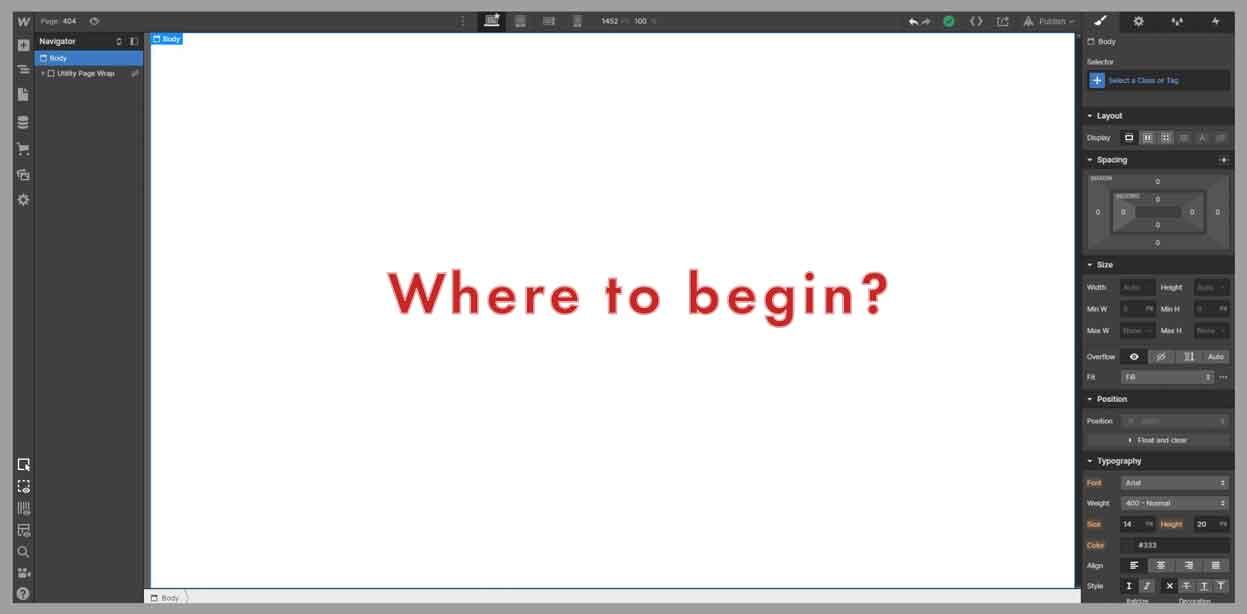 webflow backend interface