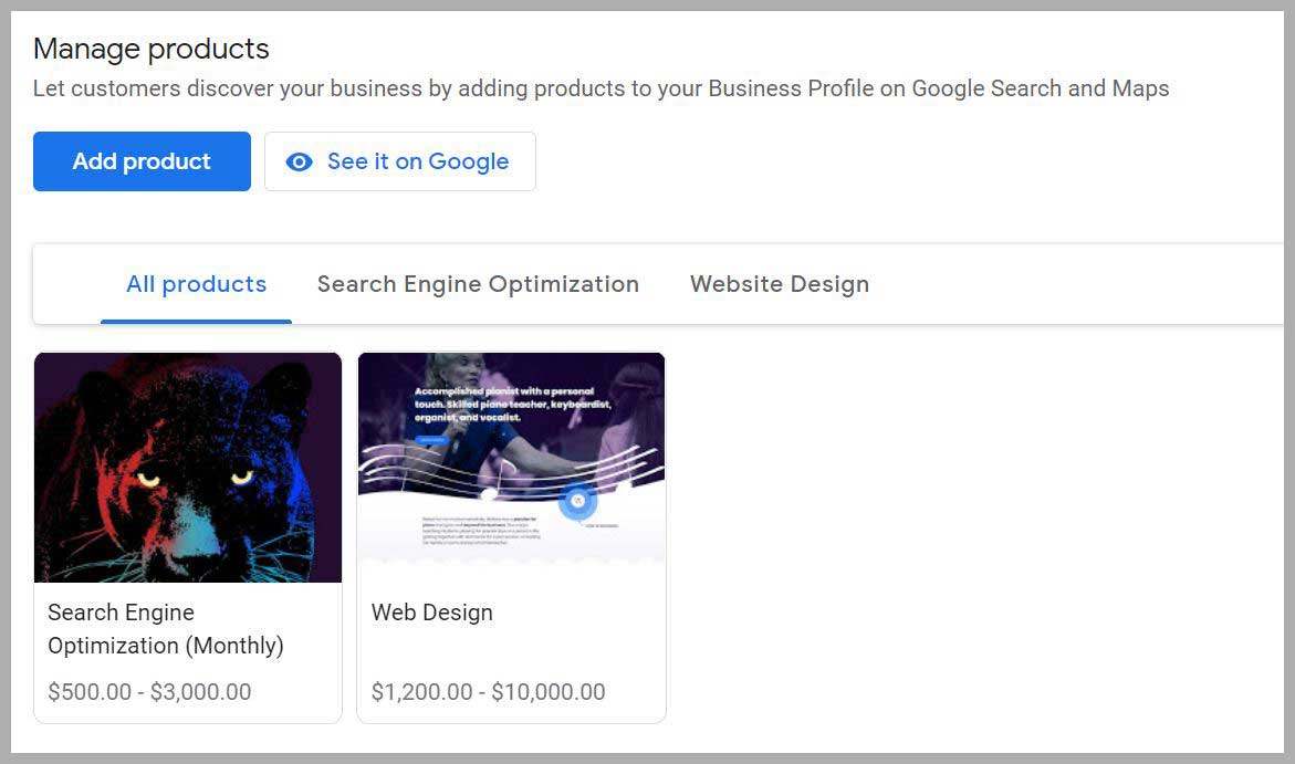 Google My Business Products Example