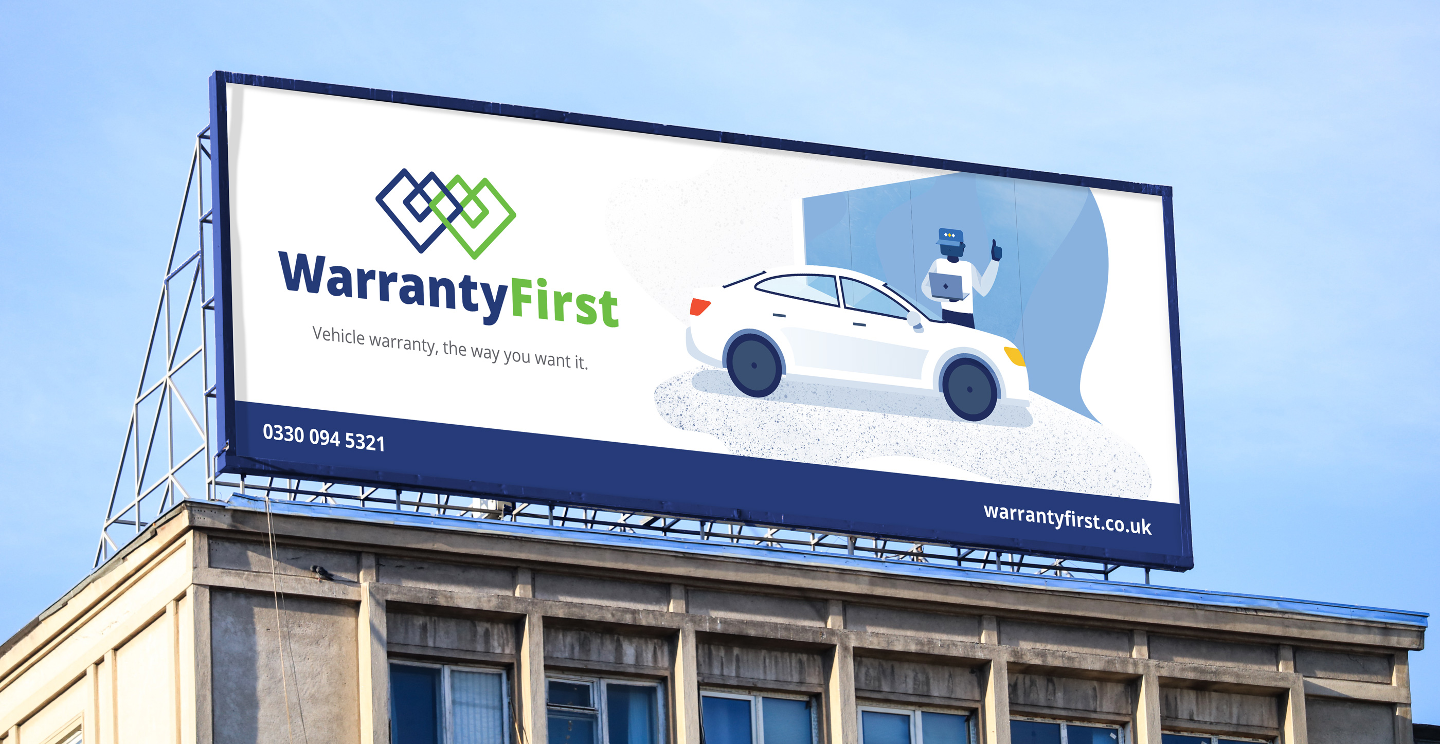 Warranty First Billboard mockup
