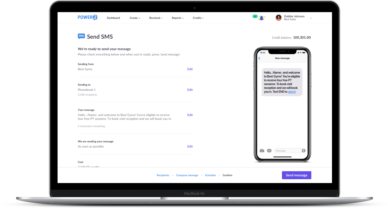 Power2 SMS builder platform