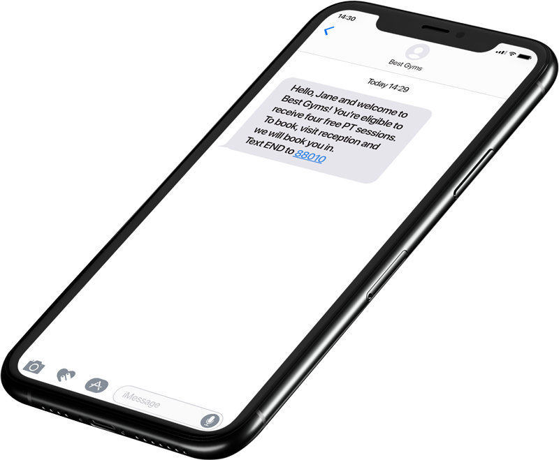 SMS example on iphone X