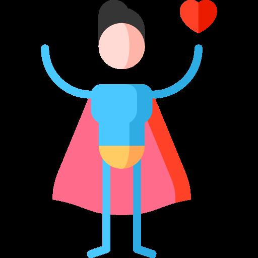 A superhero holding a love heart