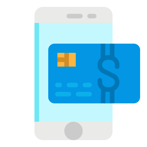 An icon of a phone with the credit card above