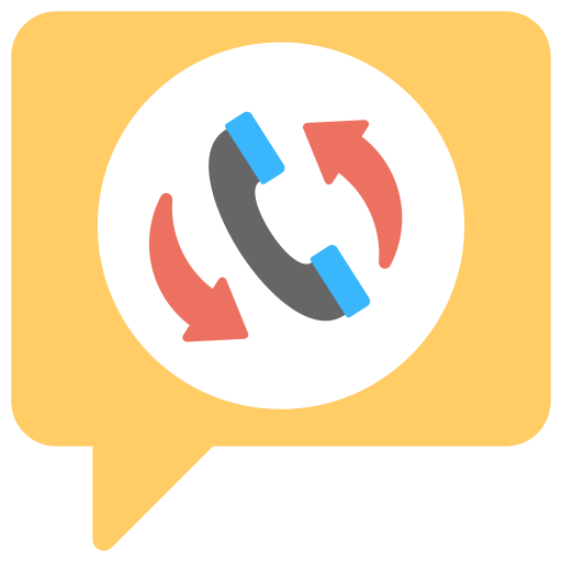 An icon of a phone in a speech bubble